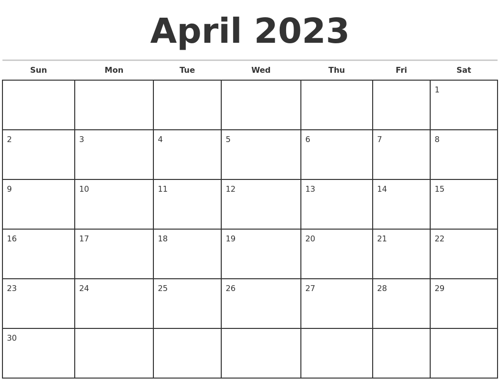 April 2023 Monthly Calendar Template