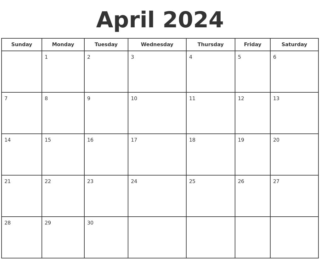 Calendar Of April 2018