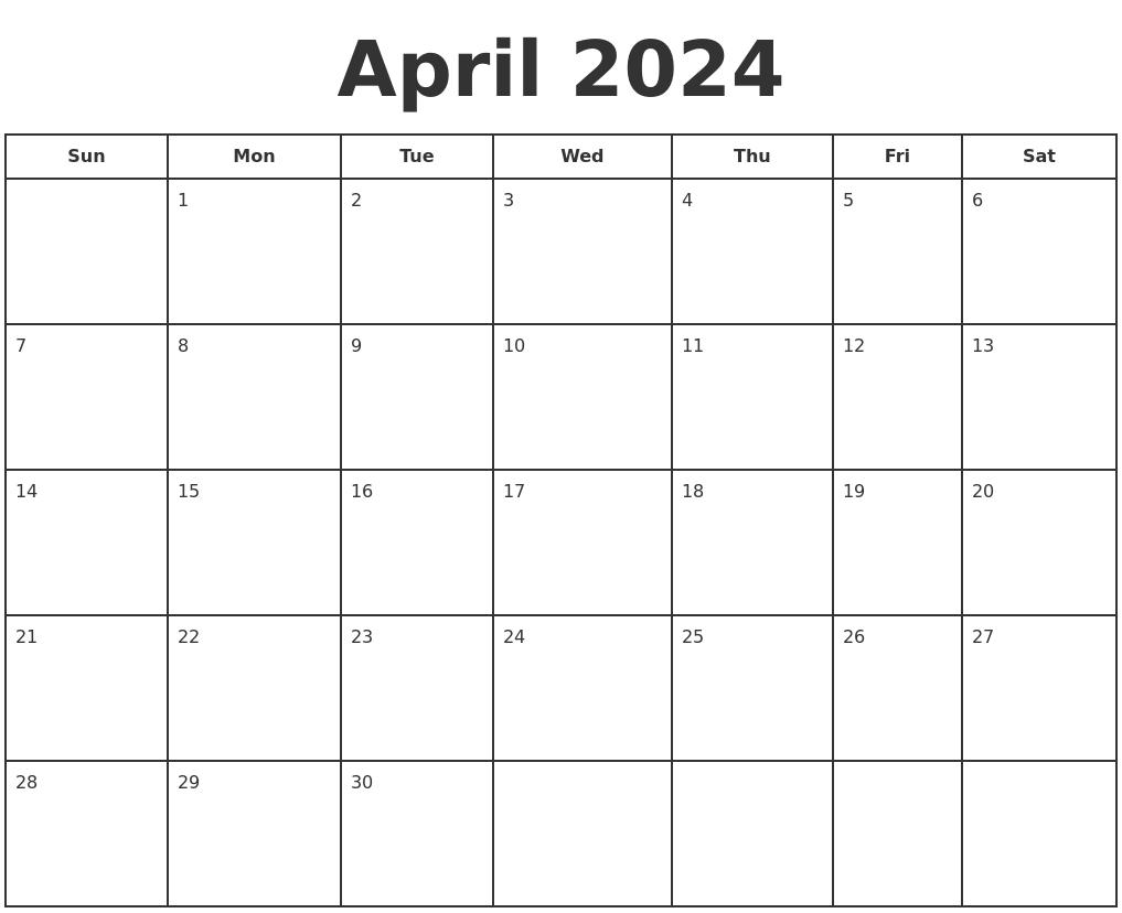 Calendar Typography Zoom : April print a calendar