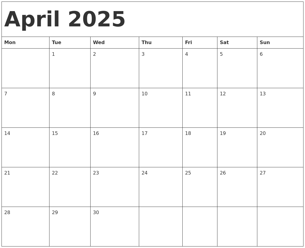 April 2025 Calendar Template