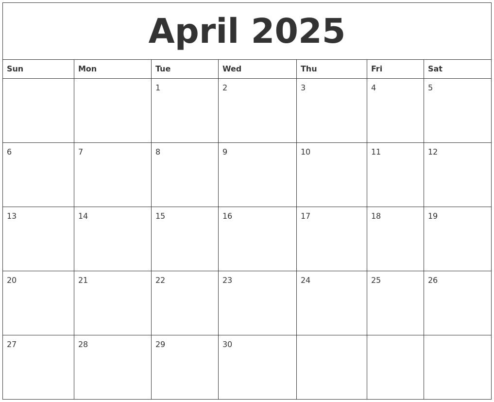 April 2025 Free Printable Blank Calendar