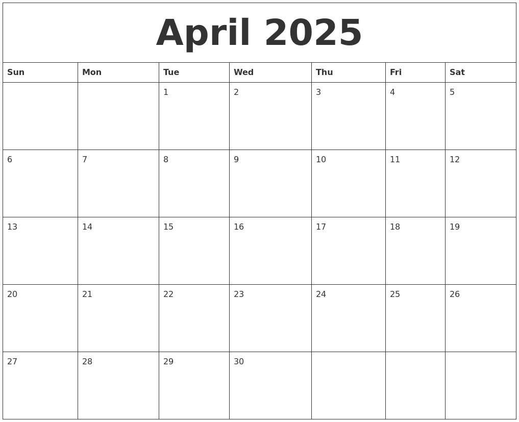 October 2025 Printable Calendar Template