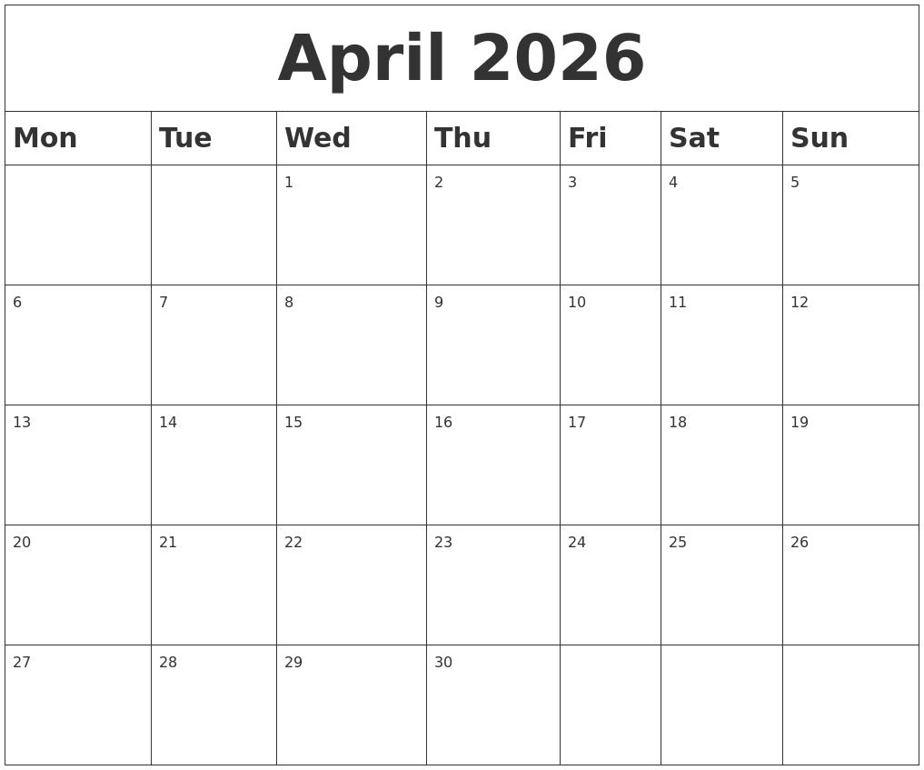 April 2026 Blank Calendar