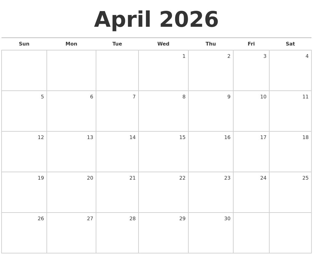 October 2026 Calendar Maker