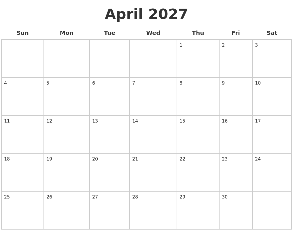 January 2027 Blank Monthly Calendar