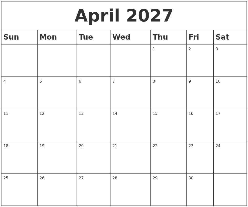 April 2027 Blank Calendar