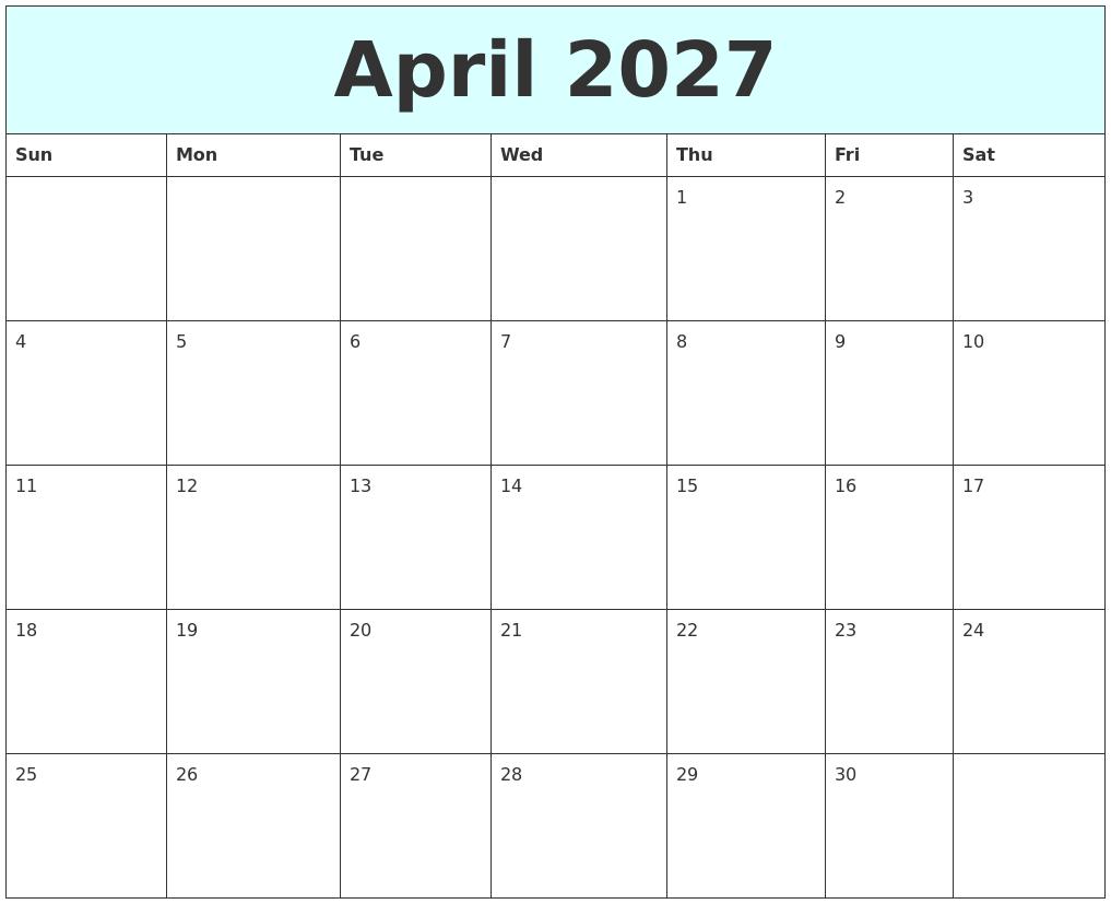 April 2027 Free Calendar