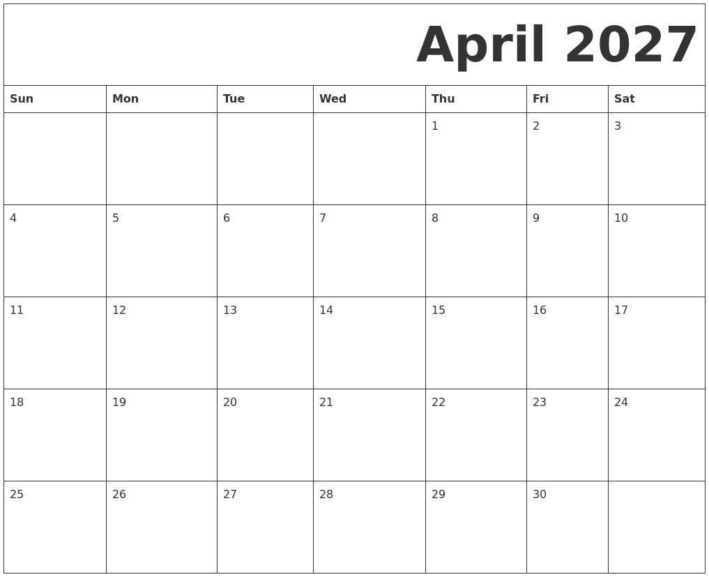April 2027 Free Printable Calendar
