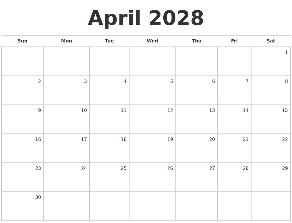 Blank Calendar April : April blank monthly calendar