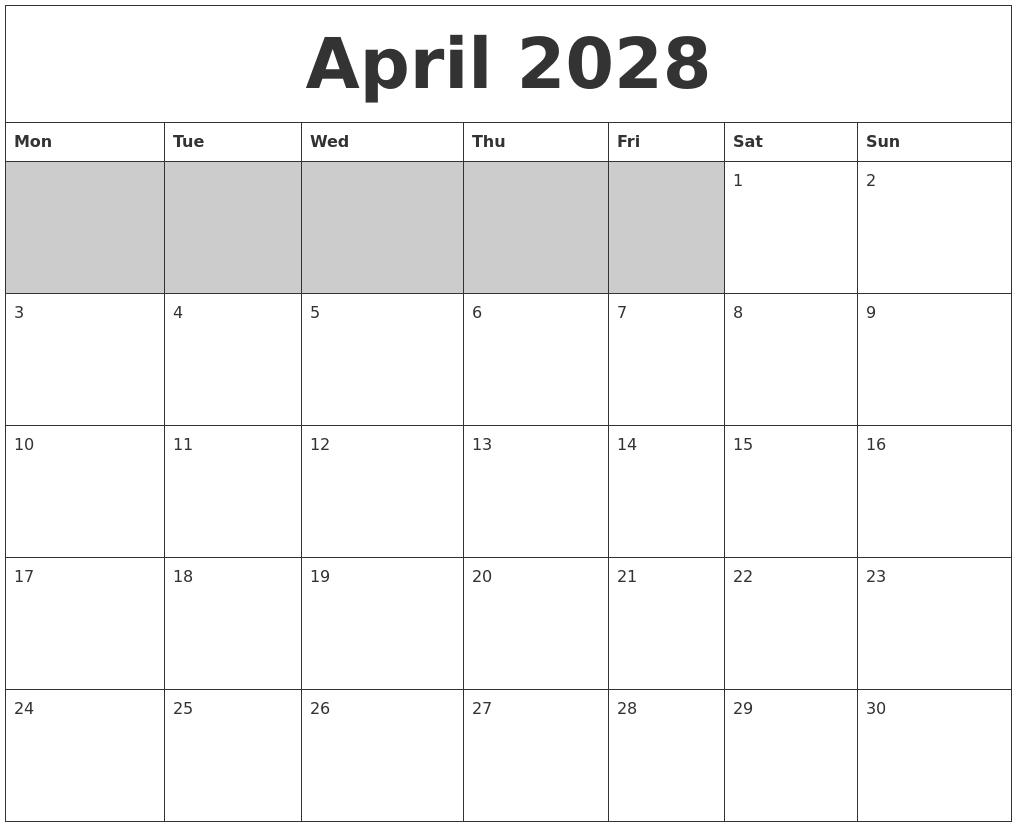 April 2028 Blank Printable Calendar