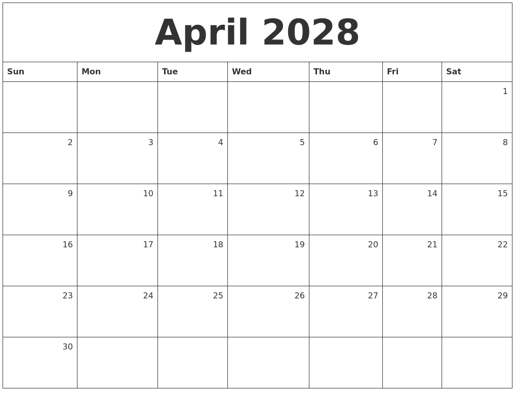 Exceptional April 2028 Monthly Calendar.png