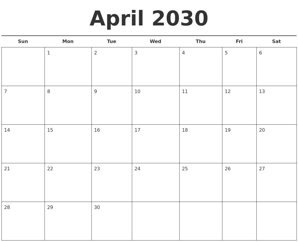 Calendar Template Printable Free