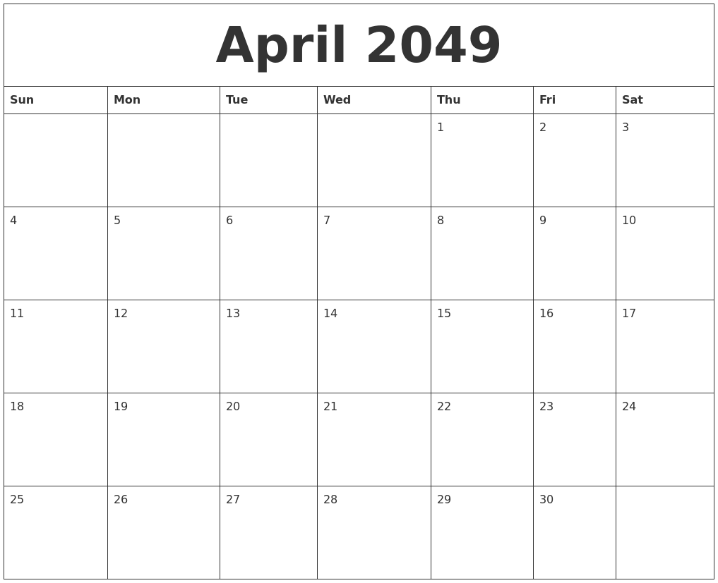 Blank Calendar By Month : April blank monthly calendar template