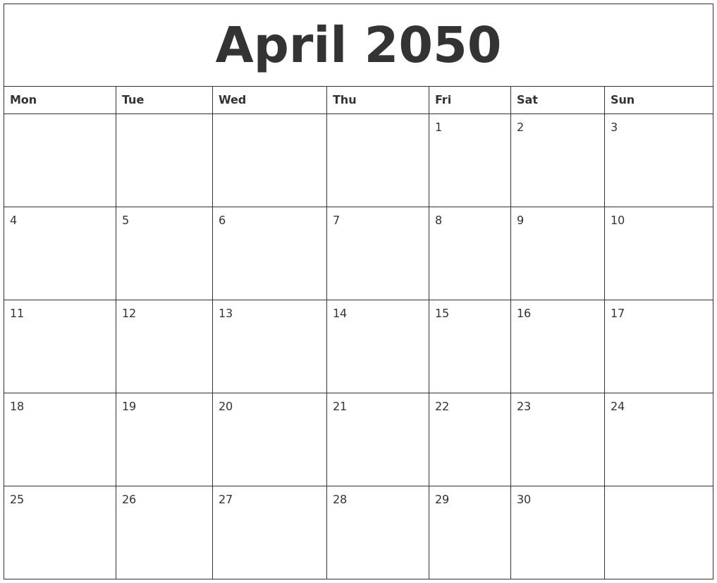 April 2050 Birthday Calendar Template