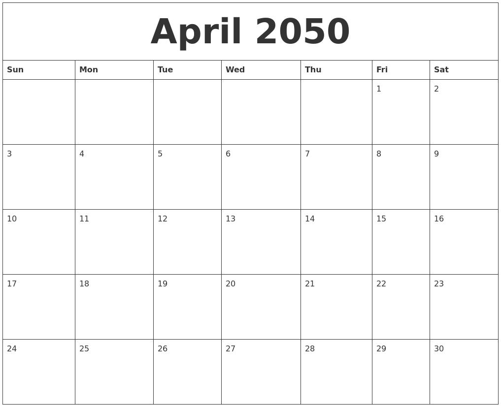 April 2050 Free Weekly Calendar