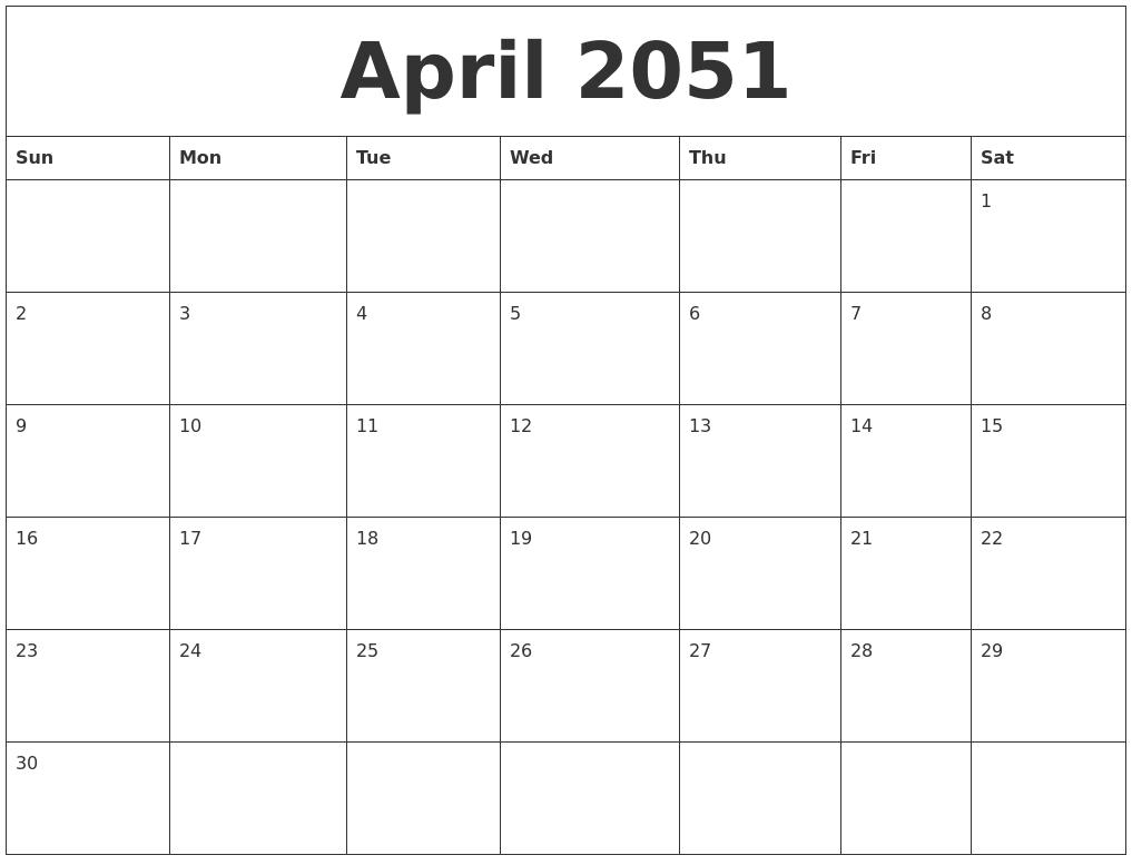 April 2051 Birthday Calendar Template – Birthday Calendar Template