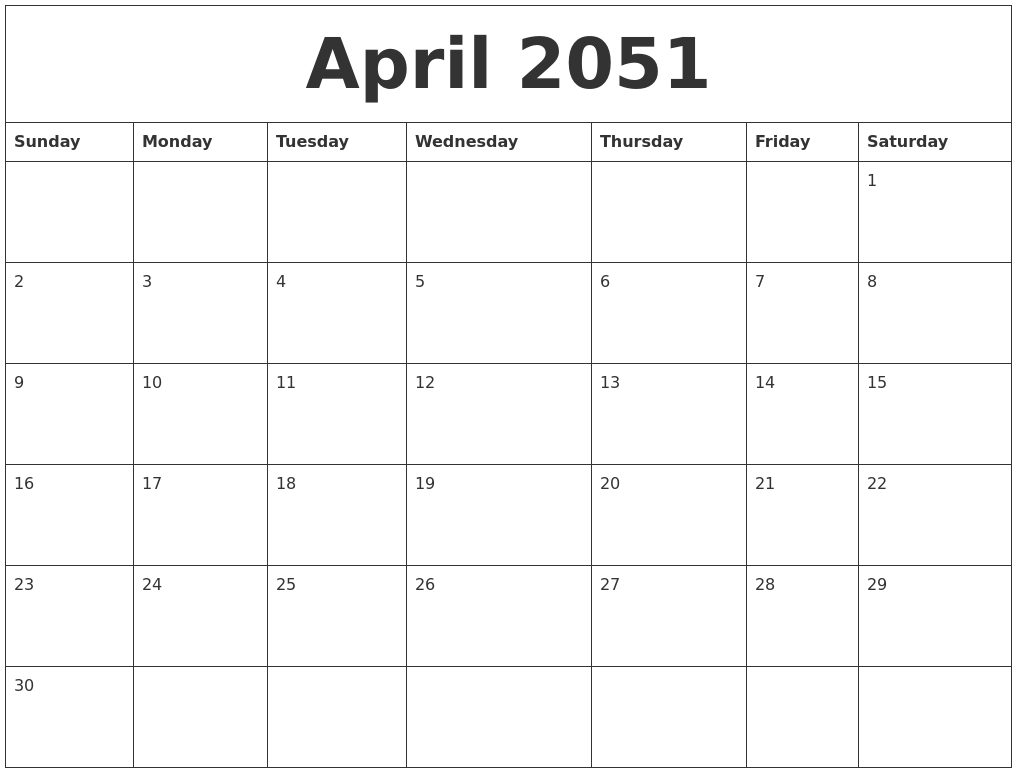 April 2051 Printable Calendar Templates