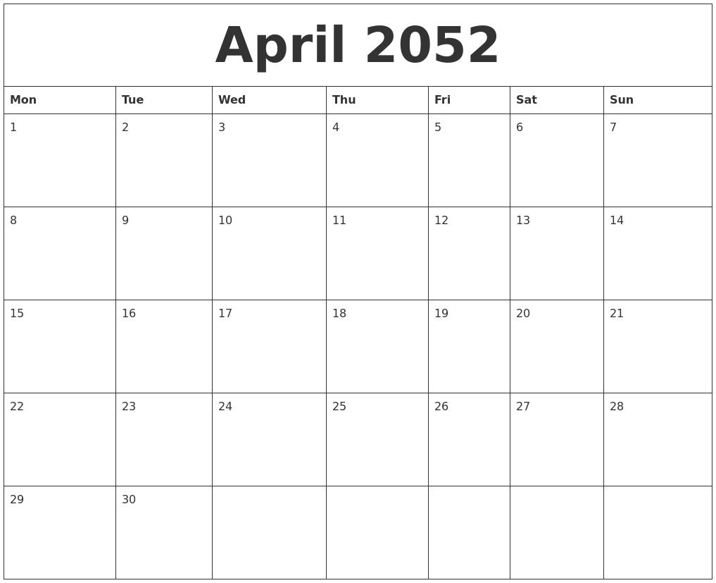 2052 Online Calendar Template