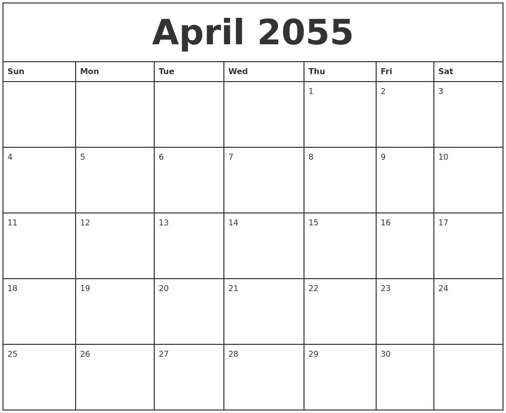 January 2055 Blank Calendar Template