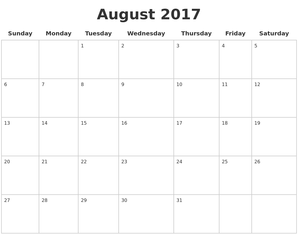 September 2017 Calendar - Time and Date