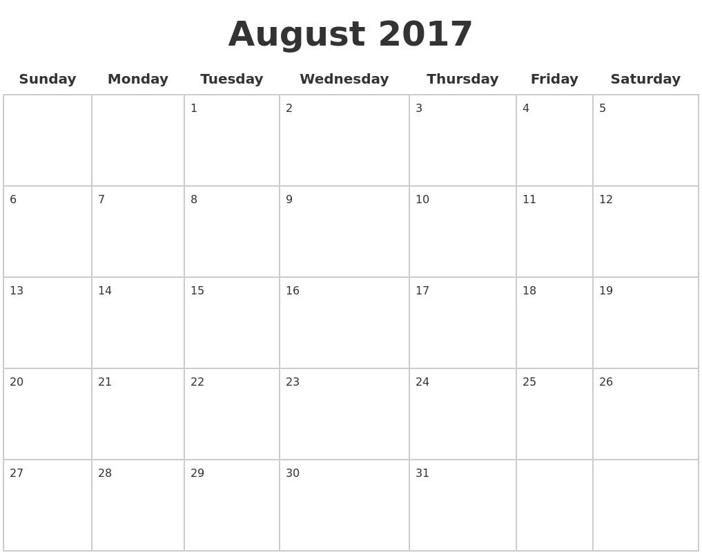 Blank Calendar Pages 2017 – Printable Editable Blank