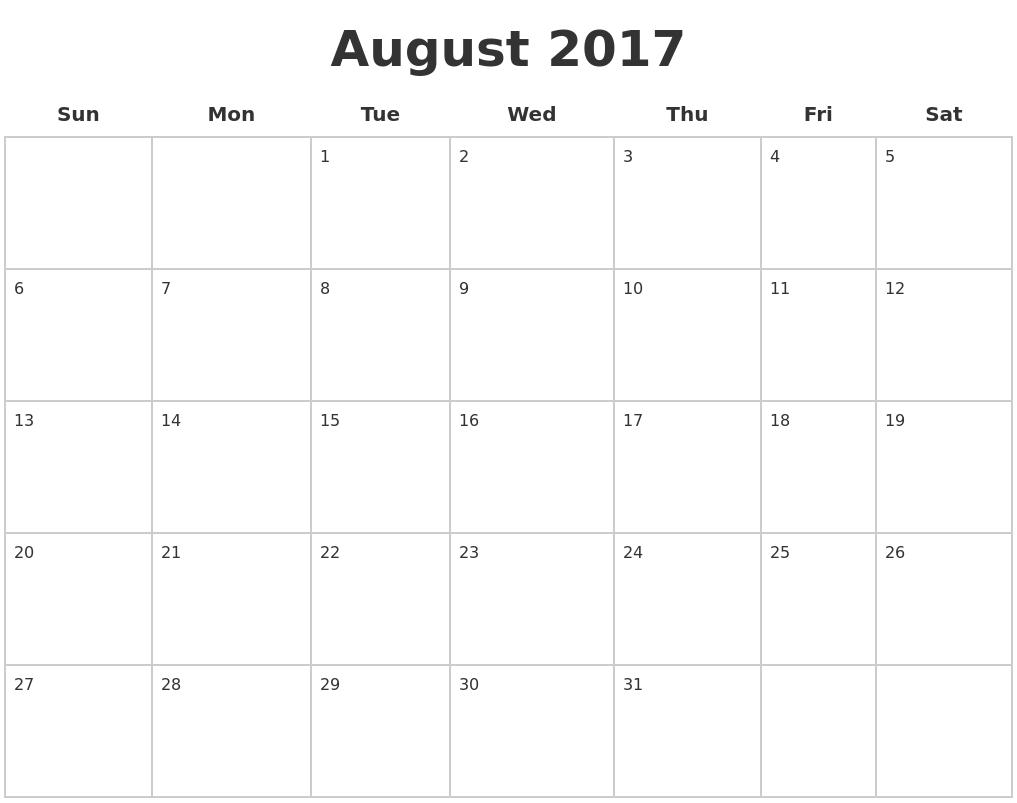 August 2017 Blank Calendar Pages