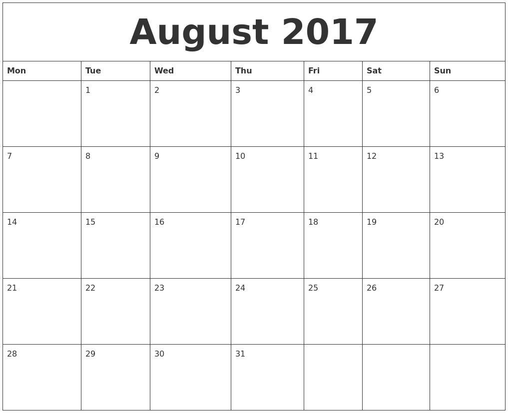 printable blank 2017 calendar