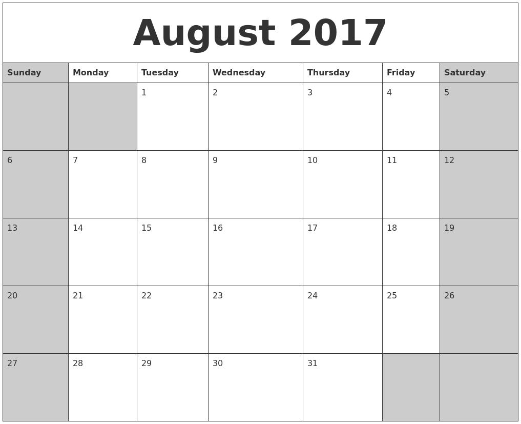 Calendar October 2017 Labor Day