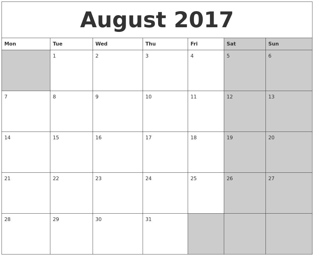August 2017 Calanders PDF's