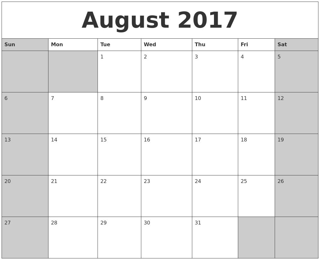 August 2017 Calanders