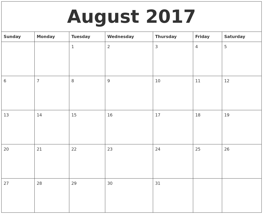 blank calendar 2017 to print