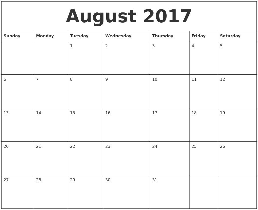 Calendar 2017 August Month – September printable calendars