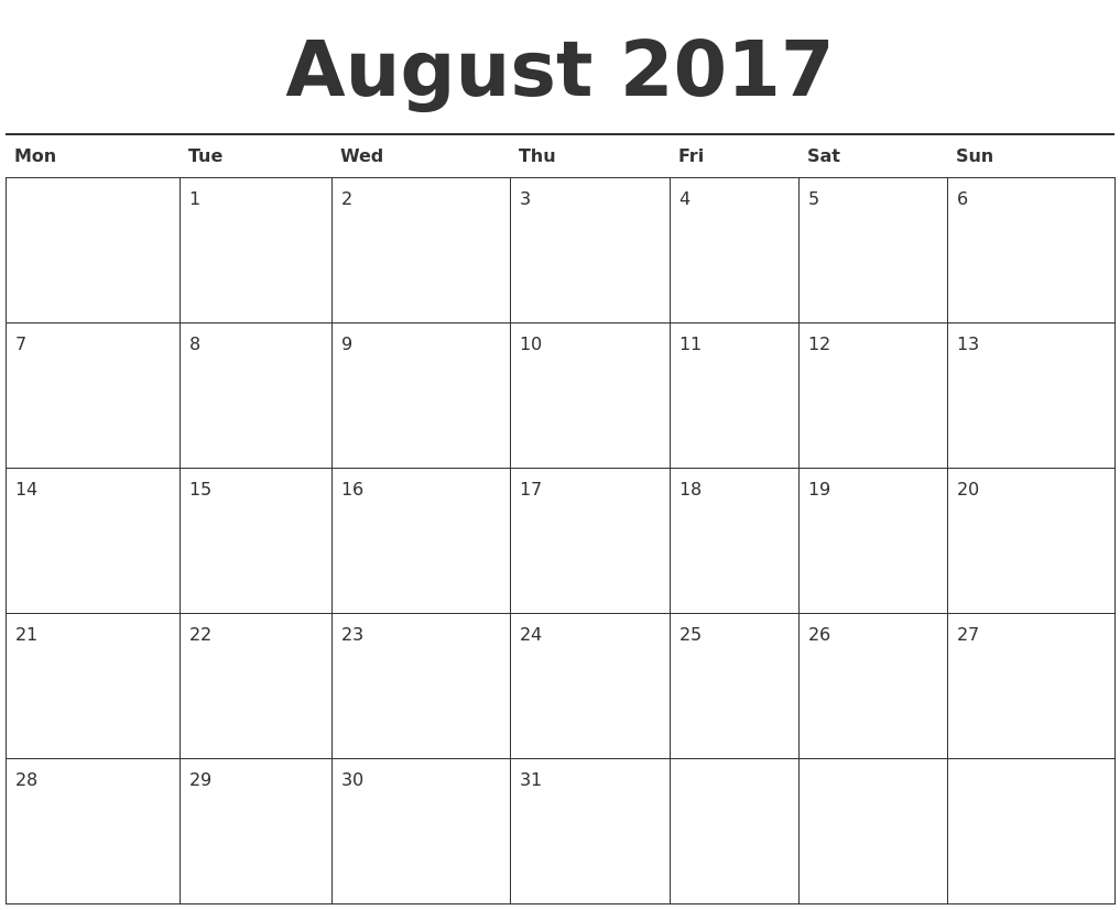 October calendar 2017 planner