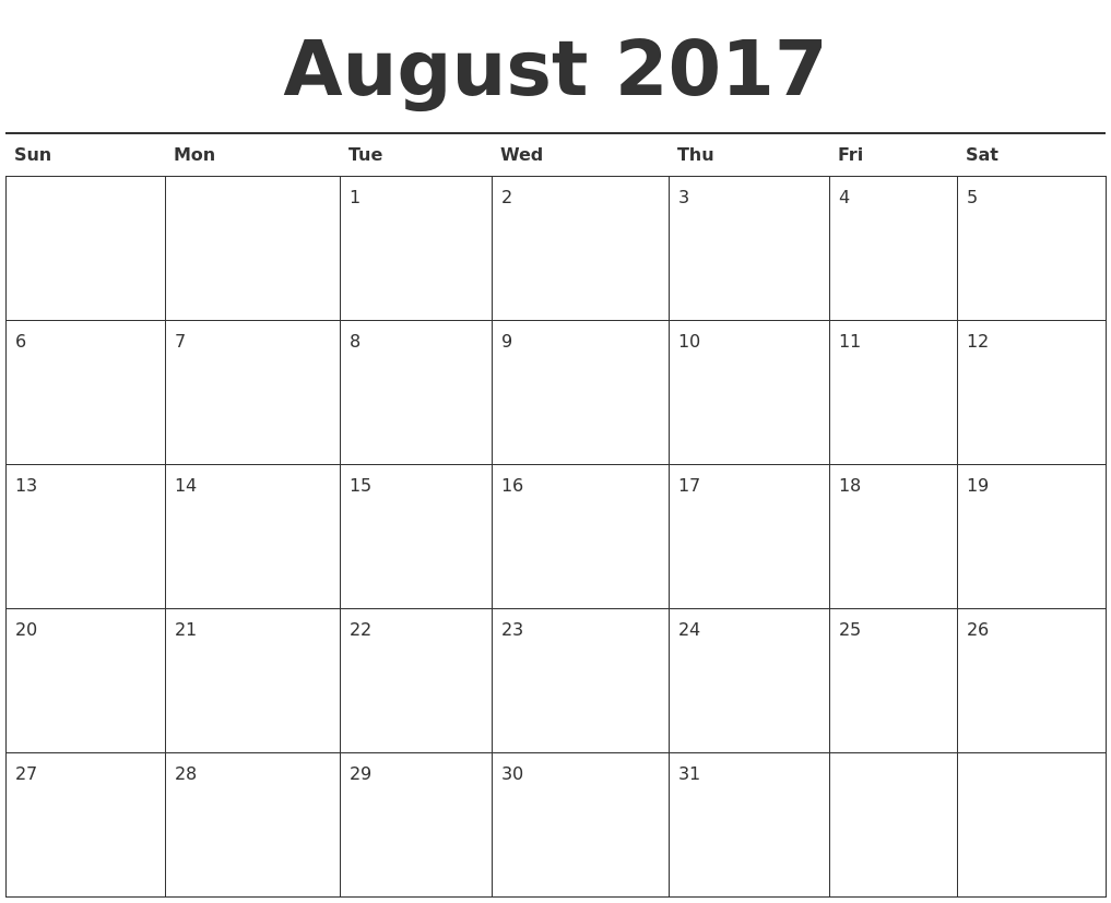 august 2017 calendar printable, august 2017 printable calendar