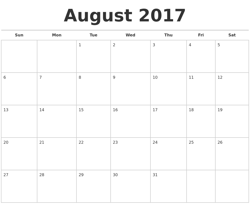August 2017 Calendars Free