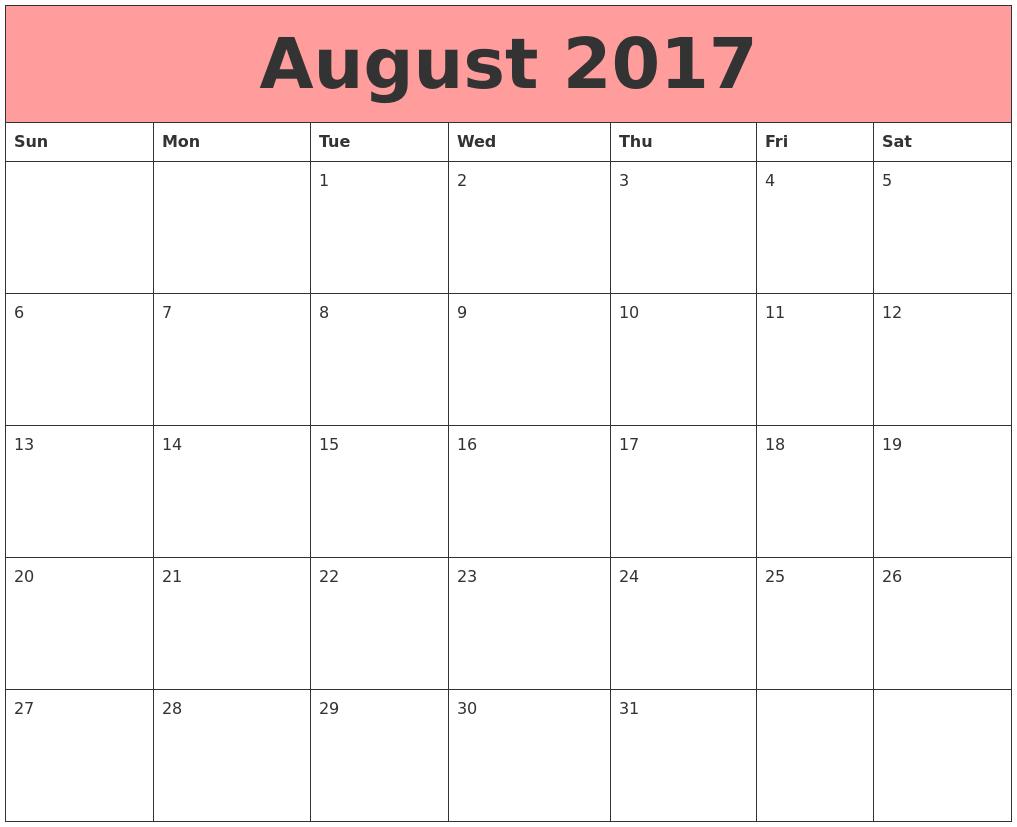 printable august september october 2017 | Printable ...