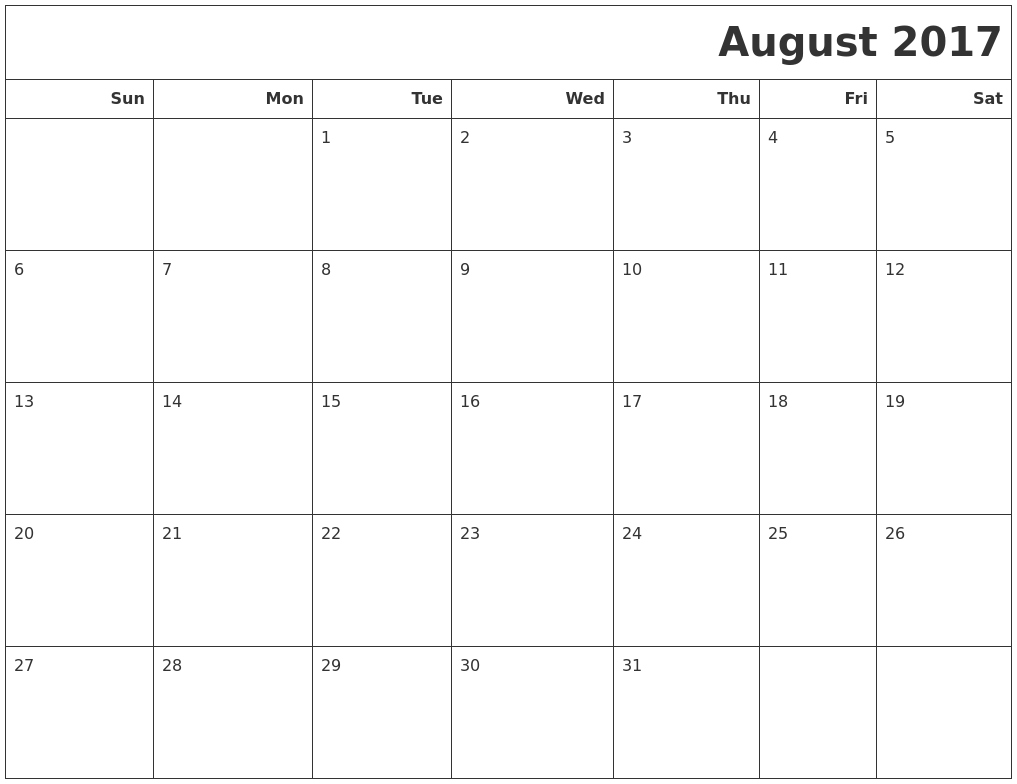 August 2017 Calendars To Print