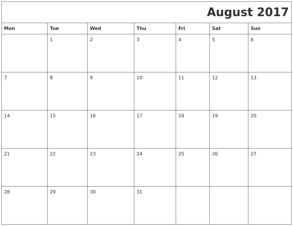 2017 October Calendar Download