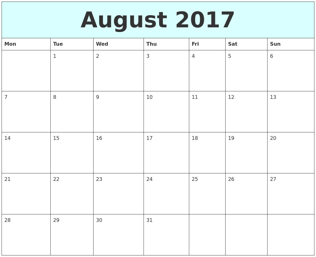 August 2017 Free Calendar PDF's