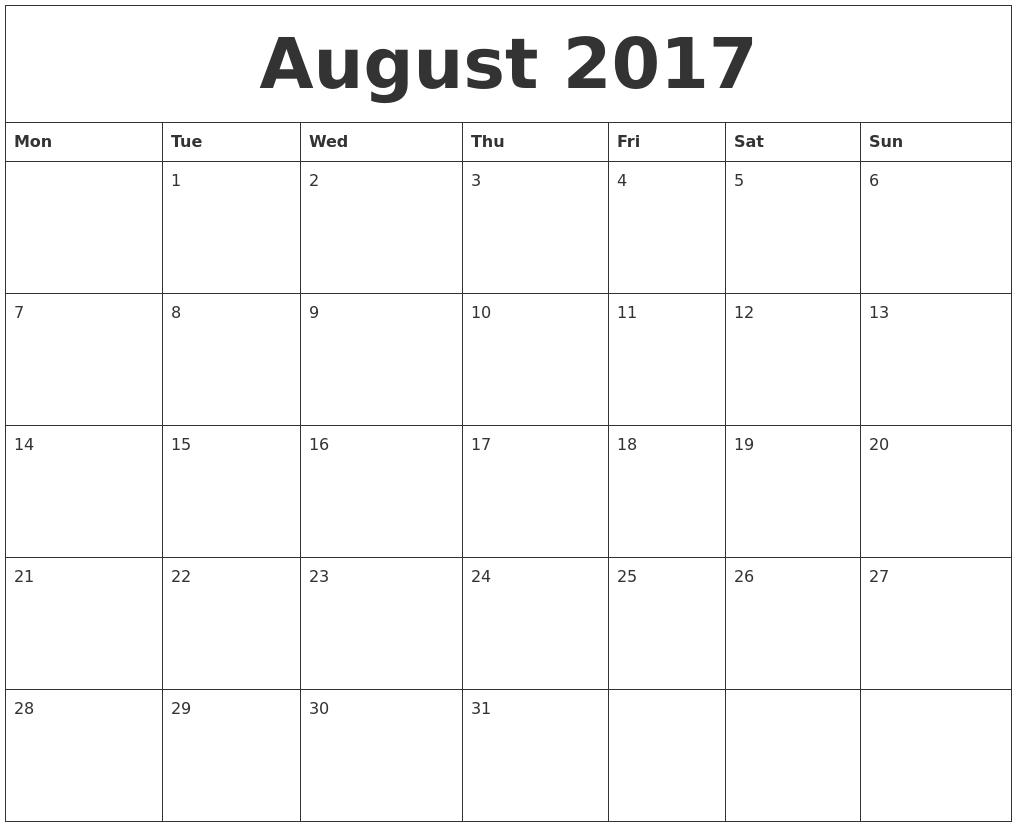 August 2017 Free Calendar Printable PDF's