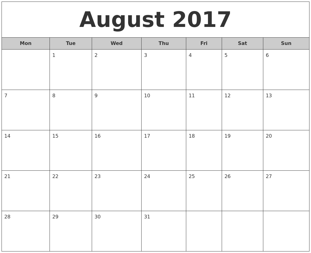 August 2017 Free Monthly Calendar PDF's