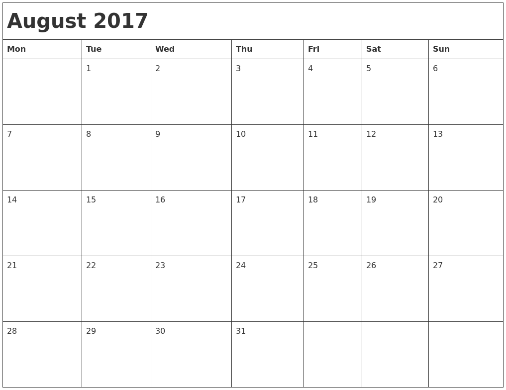 July 2017 Calendar Printable Template