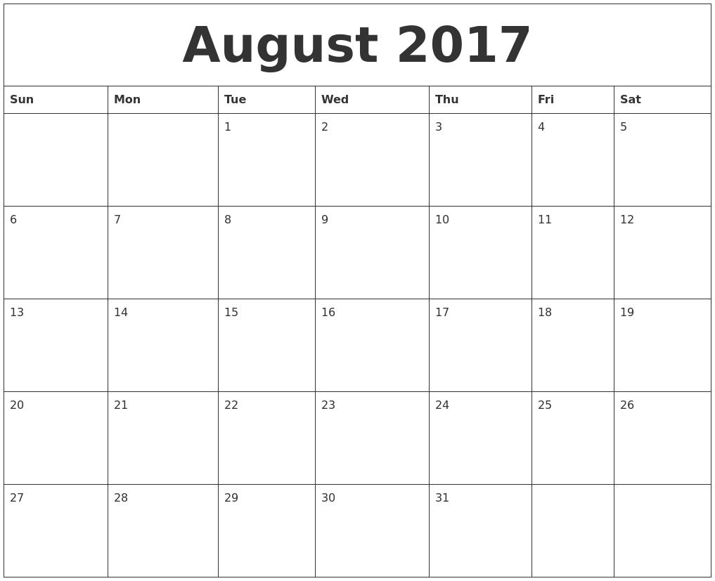 August 2017 Month Calendar Template