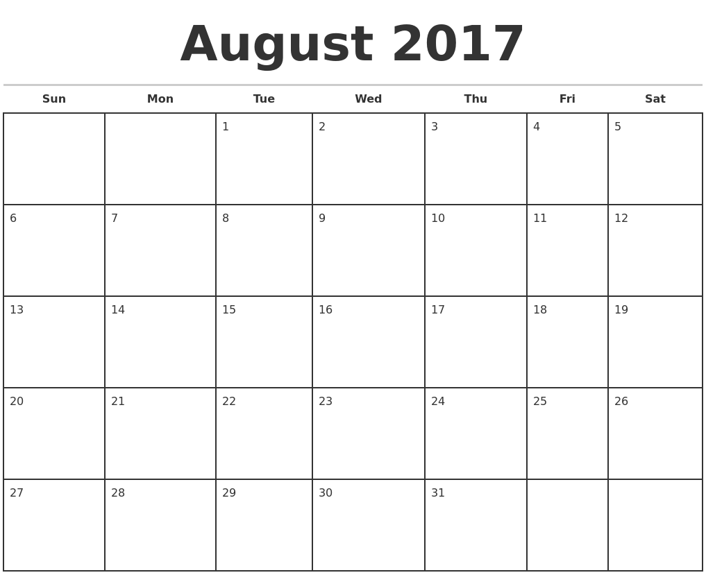 August 2017 Monthly Calendar Template