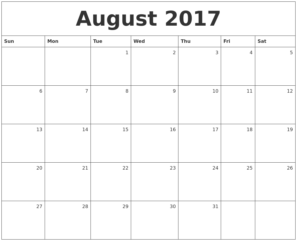 august 2017 monthly calendar, monthly calendar august 2017