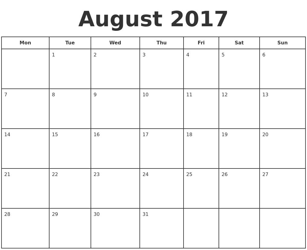 August 2017 Print A Calendar PDF's