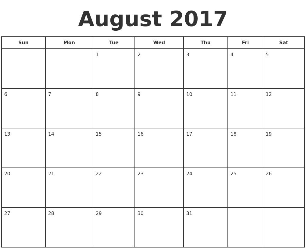 August 2017 Print A Calendar