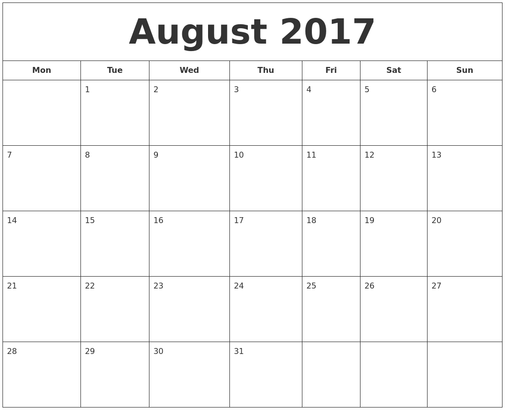 October calendar 2017 starting monday