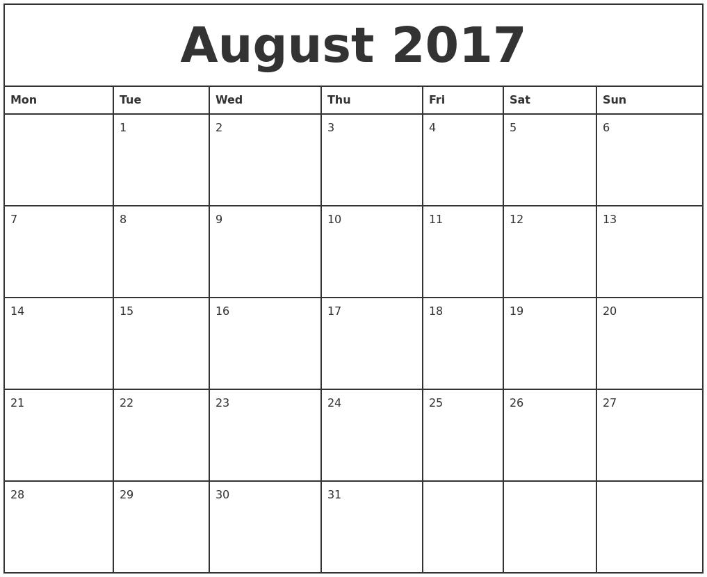Calendar Monthly August : August printable monthly calendar