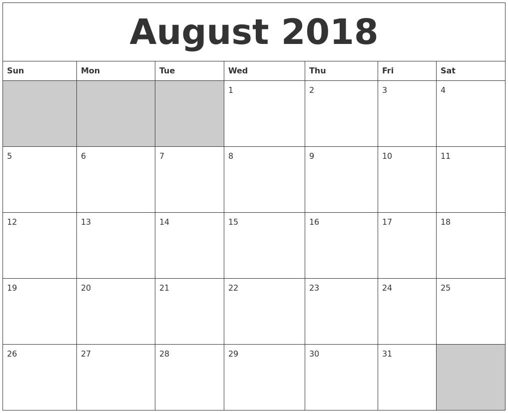 August 2018 Blank Printable Calendar – Blank Printable Calendar